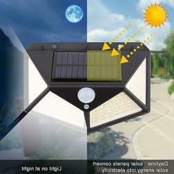 100 LED Solar Powered Light Motion Sensor Wall Yard Garden L