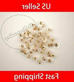 100PC Earring Backs Post Backings Stopper Silver Golden Stud