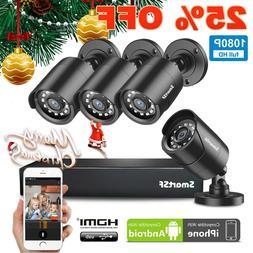 SmartSF 4CH 1080P DVR Outdoor Home 720P Security Camera Syst