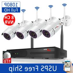 ANRAN 1080P 8CH Home Security Camera System Outdoor with 1TB