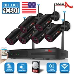ANRAN 1080P Outdoor Security Camera System Wireless 8CH 4 6