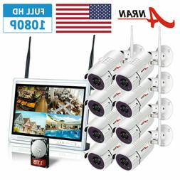 """ANRAN Security Camera System Outdoor Wireless 8CH 12""""LCD 8PC"""