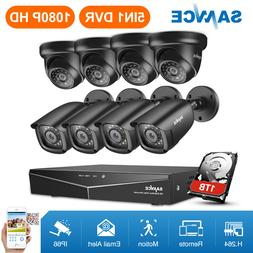 SANNCE 1080P HDMI 8CH DVR HD 2MP Outdoor IR Night Vision Sec
