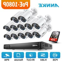 ANNKE 1080P POE System 16CH 6MP NVR 12x 2MP Home Security IP
