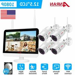 ANRAN 1080P Security Camera System Outdoor Wireless 8CH 12""
