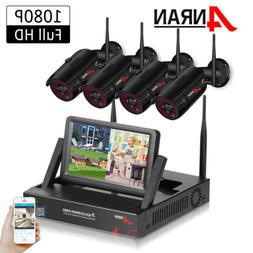 """ANRAN 1080P Security Camera System Wireless Home 4CH 7""""Monit"""