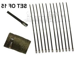 """12"""" 15 PCS STAINLESS CABLE ZIP TIE STRAPS ELECTRONICS SECURE"""