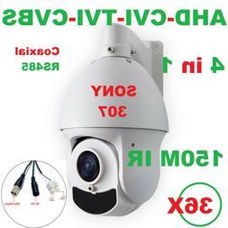 150M IR SONY307 36X Zoom 1080P AHD PTZ Speed Dome Camera Sup
