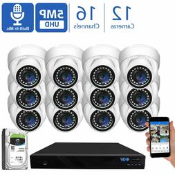 16 Channel 8MP 4K NVR 12 X 5MP 1920P PoE IP Cam Dome Securit