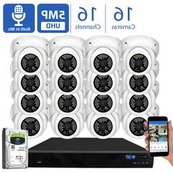 GW 16 Channel 8MP 4K NVR 16 X 5MP 1920P PoE IP Dome Security