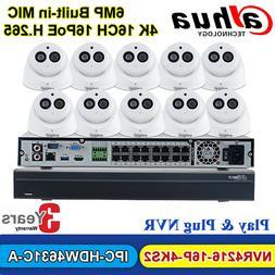 Dahua 16CH NVR Security System 6MP Dome IP Camera IPC-HDW463