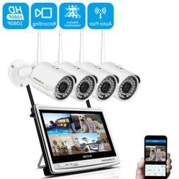 1080P IP Security Camera System Wireless Outdoor IR WiFi 12'