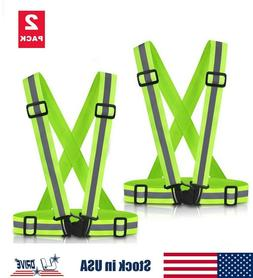 2PC High Visibility Adjustable Safety Security Reflective Ve