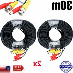 2x 100ft Power Video Security Camera Cable BNC Extension Wir