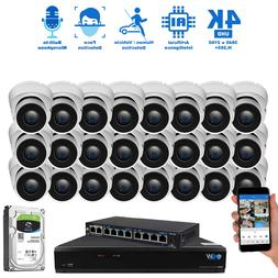 16 Channel 4K NVR  8MP 2160p Home IP POE Dome Security Camer