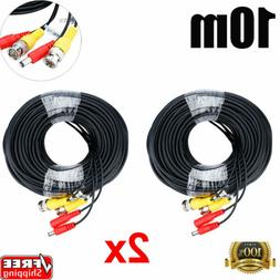 2x 33ft Power Video Security Camera BNC Cable CCTV Wire Cord