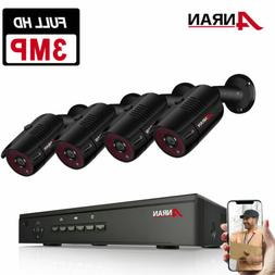 ANRAN 3MP HD Outdoor Security Camera System POE System CCTV