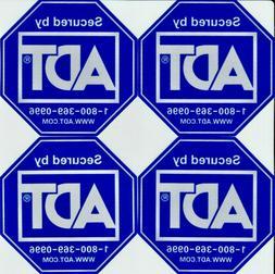4 ADT SECURITY ALARM STICKERS -- WATERPROOF - UV RESISTANT -