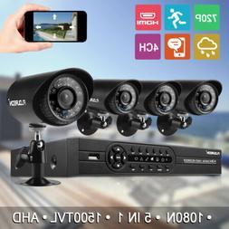 FLOUREON 4CH 1080N AHD DVR HDMI 1500TVL Home Security Camera
