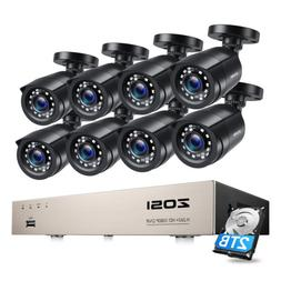 ZOSI 1080p Outdoor Security Camera System for Home 8CH 5MP L