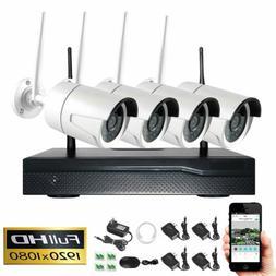 4CH Wireless 1080P NVR Indoor Outdoor WIFI CCTV Security Cam