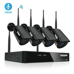 TMEZON 4CH Wireless 1080P NVR WiFi CCTV Camera Outdoor Home