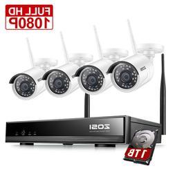 ZOSI H.265+ 8CH 1080P Wireless Security Camera System WIFI N