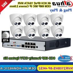 Dahua 4K 8CH NVR CCTV System 6MP MIC POE Security Camera OEM