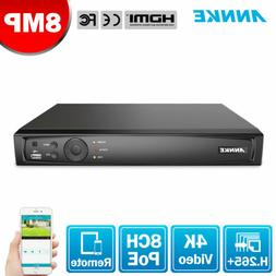 ANNKE 8CH 4K 8MP NVR Recorder for Surveillance Security POE