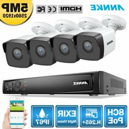 ANNKE 4K 8MP 8CH POE NVR 4x 5MP CCTV Smart Outdoor IR Securi