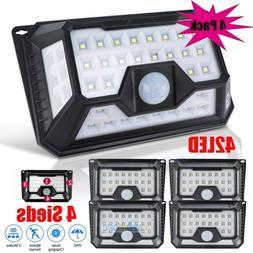 4Pack 42 LED Solar Lights Super Bright Motion Sensor IP65 Ou