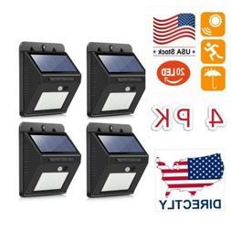 4PK 20 LED Solar Power Light PIR Motion Sensor Garden Securi