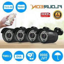 4/1x FLOUREON 1080P HD 2MP Waterproof CCTV AHD DVR Security