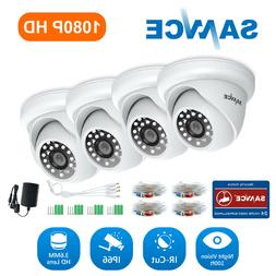 SANNCE 4x 1080P White Dome Security Camera Home Outdoor Nigh
