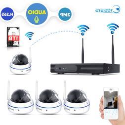 4X Audio Wireless HD 2MP Dome Camera 4CH WiFi NVR H.265 CCTV