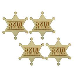 4x Ring Security Badge Pin Wooden Ring Bearer Gift for Boy W
