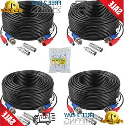 4X100ft Cable para Camaras de Seguridad BNC CCTV DVR Video S