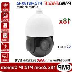 5MP 18X Zoom PTZ IP Camera Plug&Play with Hikvision POE Secu