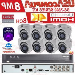 HIKVISION 5MP CCTV SYSTEM 4K UHD DVR  8CH HD OUTDOOR CAMERA