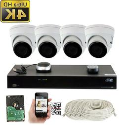 8 Channel 4K NVR  8MP 2160p Waterproof IP POE Dome Security