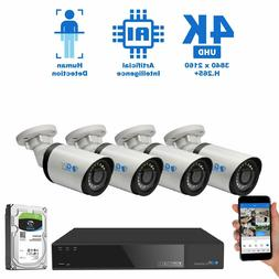 8 Channel 4K NVR 4 X 8MP PoE IP H.265+ AI Smart Starlight Se