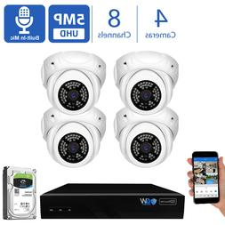 GW 8 Channel 8MP 4K NVR 4 X 5MP 1920P PoE IP Home Dome Secur
