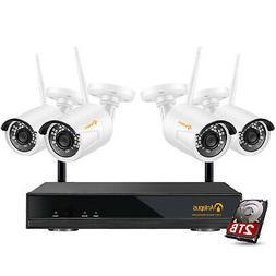 8CH H.265+ 1080p NVR with Hard Drive 2TB 4 2MP Wireless Secu