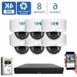 8 Channel Security Camera System 6TB DVR  8MP CCTV Varifocal