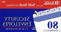 80 SECURITY ENVELOPES-BAZIC No.6-3/4 Peel and Seal Security