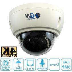 8MP 2160p Ultra HD 4K IP 3X Optical Motorized Zoom Dome PoE