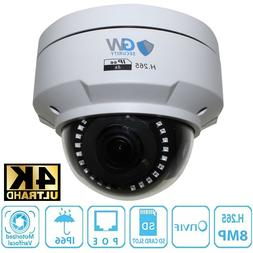 8MP 3840x2160p @30fps 4K IP Dome 3.6X Optical Motorized Zoom