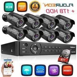 FLOUREON 8CH 1080N HD DVR Kit 3000TVL 1080P 2MP Home Securit