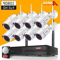 ANRAN 8CH 1080P Wireless Outdoor Security Camera System P2P