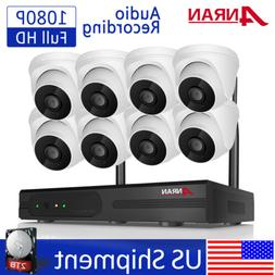 8CH 1080P Wireless Security Camera System with 2TB HDD Audio